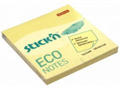 Блок самоклеящийся бумажный Stick`n ECO 76x76мм 100лист. 60г/м2 цвет светло-желтый