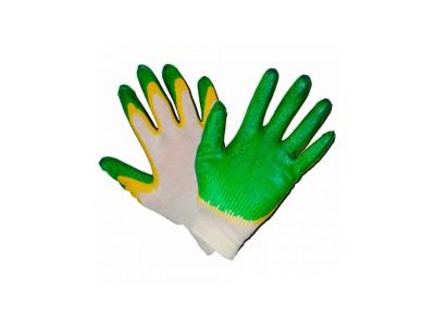 Перчатки трикотажные рабочие х/б с двойным латексным обливом, цвет зеленый
