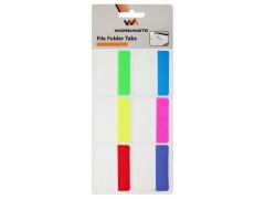 Закладки с клеевым краем, 38х50 мм, усиленные, пластик, 6 блоков по 2л., 6-ти цветные, неоновые, арт. 003001900