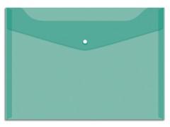 Папка-конверт на кнопке OfficeSpace А4, 150мкм, цвет зеленый
