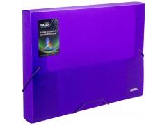 Папка на резинках COLOURPLAY Light, ф.A4, 0,6 мм, корешок 40мм, прозрачная, фиолетовая, арт. ICLF444/VL