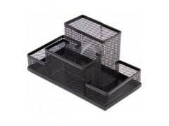 Подставка для канцелярских мелочей 153*103*100мм металлическая сетка, 4 отделения, черная, FO30546