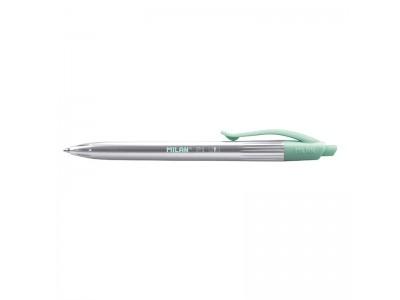 """Ручка шариковая автоматическая Milan """"P1 Silver"""", синий стержень 1,0мм, арт. 17657720112, цвет деталей бирюзовый"""