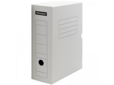 Короб архивный с клапаном, микрогофрокартон, 100мм, ассорти, арт. A-GBL100C_1775, цвет белый