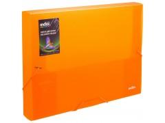 Папка на резинках COLOURPLAY Light, ф.A4, 0,6 мм, корешок 40мм, прозрачная, оранжевая, арт. ICLF444/OR
