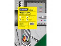 """Обложка А4 OfficeSpace """"PVC"""" 180мкм, """"Кристалл"""" прозрачный цветной (цвета в ассортименте), 100л., цвет зеленый"""