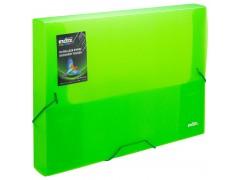 Папка на резинках COLOURPLAY Light, ф.A4, 0,6 мм, корешок 40мм, прозрачная, зеленая, арт. ICLF444/GN