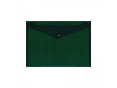 Папка-конверт с кнопкой, A4, 180мкм, Index, цвет зеленый