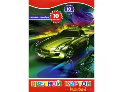 Набор цветного картона ACTION! ф. А4, 10цв., 10л(8цв.+зол и сереб), арт. ACC-10/10E/3