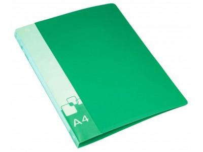 Папка на 2-х кольцах Бюрократ -0818/2R A4 пластик 0.7мм кор.18мм внут.и торц.карм, цвет зеленый