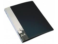 Папка на 4-х кольцах Бюрократ -0840/4RBLCK A4 пластик 0.8мм кор.40мм внут.и торц.карм черный