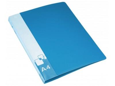 Папка на 4-х кольцах Бюрократ -0840/4RBLU A4 пластик 0.8мм кор.40мм внут.и торц.карм синий