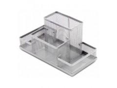 Подставка для канцелярских мелочей 153*103*100мм металлическая сетка, 4 отделения, серебро, FO30556
