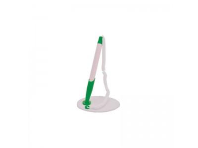 Ручка настольная с подставкой, белый корпус, детали цвета ассорти, арт. STP864, цвет деталей зеленый