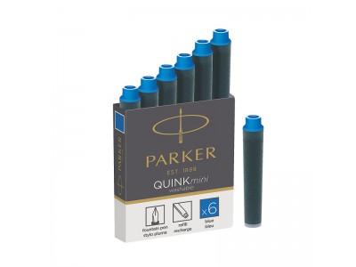 Картридж-мини с чернилами QUINK для перьевой ручки, SHORT, арт. PARKER-S0767240, арт. PARKER-S0767220, цвет чернил синий
