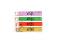Линейка 15см, флюоресцентная, прозрачная, пластиковая, 4цв, арт. APR15/TF