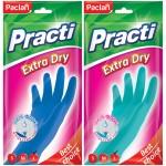"Перчатки резиновые Paclan ""Practi Extra Dry"", р.L, цвет микс, пакет с европодвесом 407350"