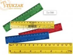 Линейка пластиковая цветная 15 см, с двойной шкалой, TZ 380