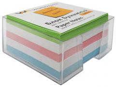 Бумажный блок 9х9х5, офсет, в термопленке, цветной, в прозрачной пластиковой подставке, арт. 003004500