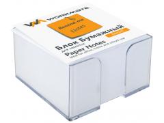 Бумажный блок 9х9х5, офсет, в термопленке, белый, в прозрачной пластиковой подставке, арт.003004300