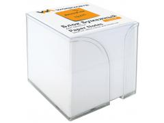 Бумажный блок 9х9х9, офсет, в термопленке, белый, в прозрачной пластиковой подставке, арт.003002900