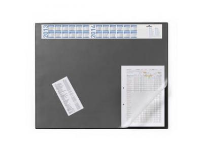 Подкладка настольная с прозрачным верхним листом и календарем, 650х520 мм, черная, арт. 7204-01