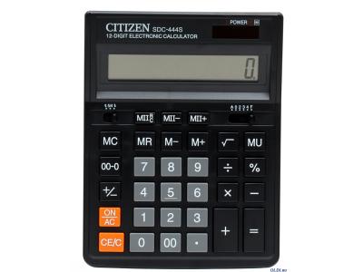Калькулятор настольн, 12 разр., дв. питание, 2 памяти, черный корпус, разм.199*153*30 мм, карт.упак., арт. SDC-444S
