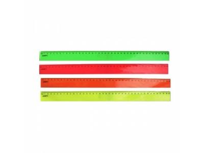 Линейка 40см,флюоресцентная, пластиковая,4цв, арт. APR40/FL