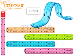 Линейка пластиковая гибкая 30 см, 4 цвета в ассортименте, NEW, арт. TZ 7270