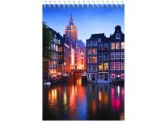 Блокнот Silwerhof 731190-15 A5 мелов.картон 60л клетка гребень Амстердам