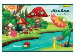 Альбом для рисования Silwerhof 911107-34 12л. A4 Волшебная страна 2диз. картон скрепка