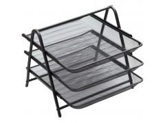 """Лоток для бумаг горизонтальный Berlingo """"Steel&Style"""", 3 секции, металл, цвет черный"""
