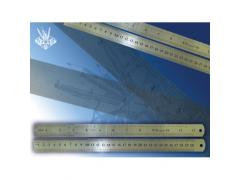Линейка металлическая 30 см, двусторонняя, с двойной шкалой, арт. TZ 384