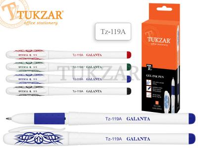 Ручка гелевая: белый пластиковый корпус, резиновый держатель, арт. TZ 119 A, цвет синий