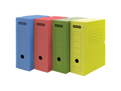 Короб архивный с клапаном, микрогофрокартон, 150мм, ассорти цветной, арт. 225415