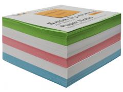 Бумажный блок 9х9х5, офсет, проклеенный, в термопленке, цветной, арт. 003004600