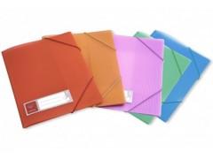 Папка на резинке Бюрократ Crystal -CR510 A4 пластик кор.30мм 0.5мм ассорти