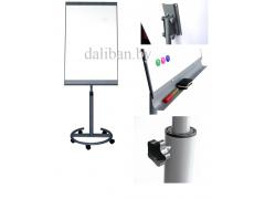 Флипчарт магнитно-маркерный, 70x100 см, пласт. рамка, мобильный на колесиках + подставка, арт. IWB-621