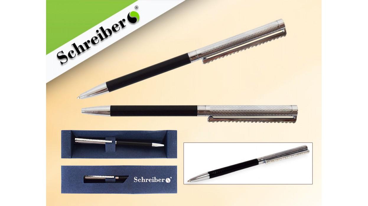 Ручка шариковая металлическая в футляре, СИНИЕ чернила, цвет корпуса черный с серебрянным клипом, арт S 2834