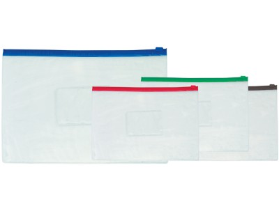 Папка на молнии прозрачная, ассорти, ф.A4, 140мкм, с карманом для визитки , арт.052000900