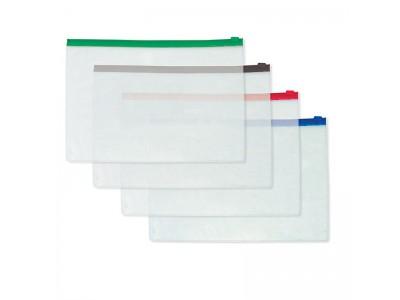 Папка на молнии прозрачная, без кармана, ассорти, ф.A5, 140мкм, арт.SZB54-1