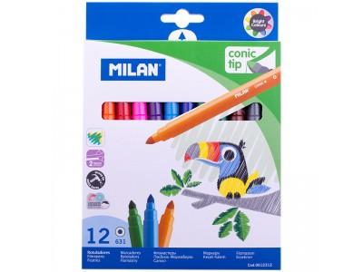 """Фломастеры Milan """"631"""", 12цв., смываемые, картон, европодвес 0612312"""