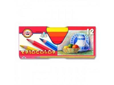 Набор цветных художественных карандашей TRIOCOLOR, 12 цв, трехгранный цветной корпус, арт. 3152/12 KS