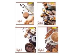 Тетрадь Silwerhof 811486-55 48л. клет. A5 Кофе. шоколад 4диз. картон вод.лак скрепка