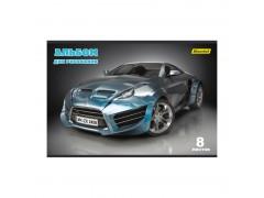 Альбом для рисования Silwerhof 911120-14 8л. A4 Автомобили 2диз. мел.картон скрепка