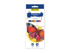Карандаши цветные Silwerhof 134196-12 Бабочки шестигран. 2.8мм 12цв.