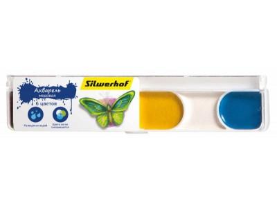 Краски акварельные Silwerhof 961124-06 Бабочки медовые 6цв. без кисти пласт.пенал