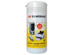 Салфетки Silwerhof для пластиковых поверхностей и офисной мебели туба 100шт влажных