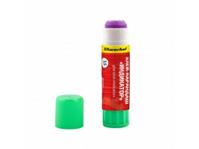 Клей-карандаш Silwerhof INDIKATOR 431415 15гр ПВП дисплей картонный цветной (исчезающий цвет)