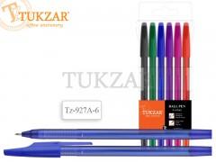 Набор шариковых ручек: матовый корпус, 6 цветов, арт. TZ 927 A-6